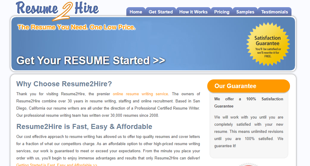 resume2hire.com Review by TopResumeWritingServices